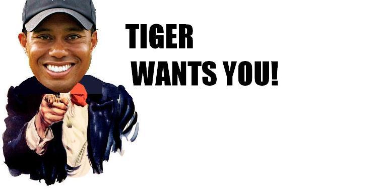 Bewerbung bitte an Tiger Woods, Jupiter, Florida, USA.